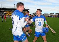 Waterford's Austin Gleeson congratulates goalscorer Colin Dunford at the final whistle.