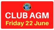 Club AGM Friday 22 June 8pm in Cheevers Lounge.