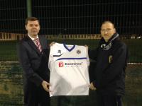 Tom Cunningham receives new kit from sponsor Bill Doran of Ei Electronics