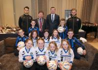 CUFC U10 players and Tom Cunningham with Mayor Peter Roche and Galway United players Armin Aganovic and Alex Byrne