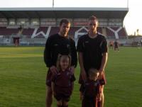 Mascots Ava and Noah Folan at Mervue match