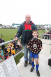 Vinny OHora presenting the Ballina Stephenites U8B Shield to Keith Coleman, captain of Knockmore U8B team.
