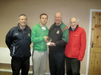 Barry Murphy presenting Player of the Tournament Thomas Murphy at the Beenie Murphy memorial Tournament