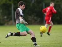 Enda Kenny kicks the ball out during the Cappry Rovers v Letterbarrow Celtic Cup match.