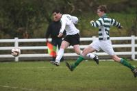 Barry Rose tries a shot during the St. Catherines v Rathmullan Celtic match at Emerald Park.
