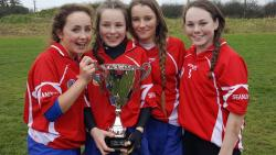 Victorious Barrs girls with Seandun u14 team