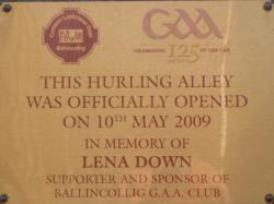 GAA Hurling Alley Plaque