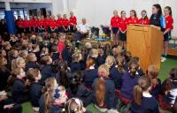 Dublin captain Sinead Goldrick meets the girls in St Brigid's school (8 photos)