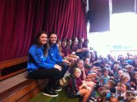 Niamh Collins and Emma McDonaghn with the girls in of Hollypark school