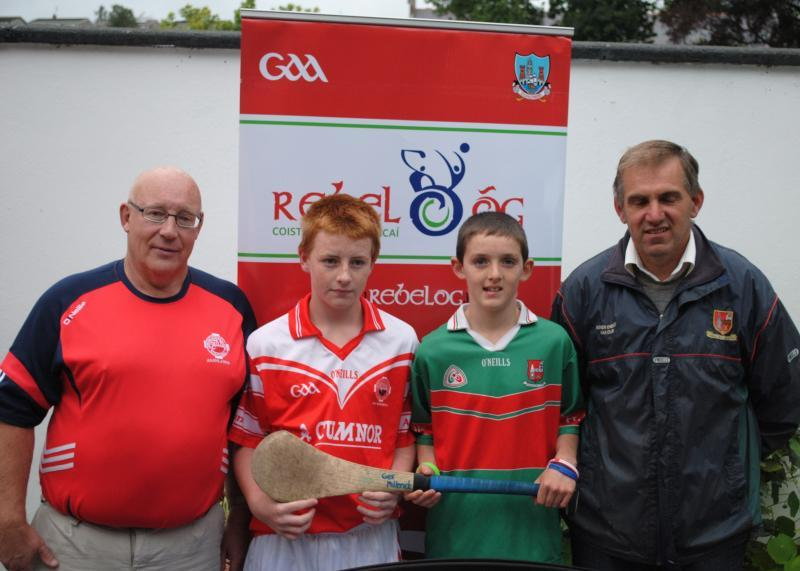 """Dave Coleman (Selector) and Barry Dennehy (Captain) at the RebelOÂ""""g photocall for the P2 U13 Hurling Championship"""