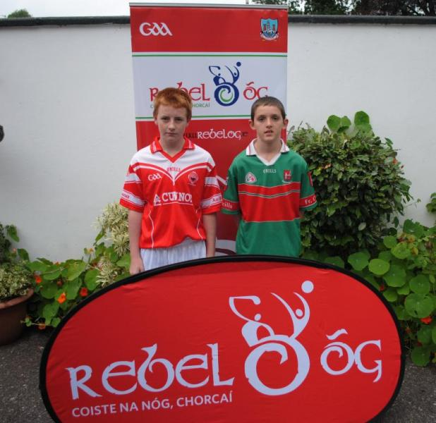 """Blarney and Fr. O'Neills captains at the RebelOÂ""""g photocall for the P2 U13 Hurling Championship"""