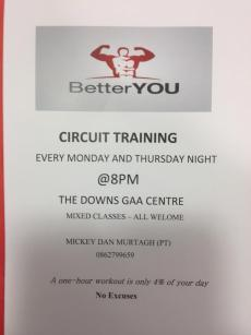 Fitness Training resumes this Mon @ 8pm all welcome