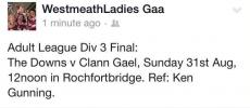 Good luck to ladies team in league final this weekend !