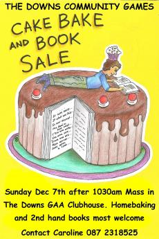 Cake and Book Sale for Community Games