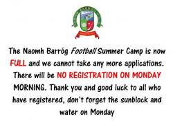 Summer Football Camp is now FULL