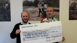 Peter Fitzgerald Presenting Cheque to Medecins Sans Frontieres