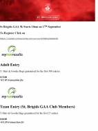Info on St Brigids 5k for 17th September, register early to qualify for goodies