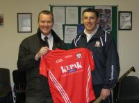 Andrew Barrett (Moynihans Pharmacy)and Noel ORiordan (Premier Intermediate Hurling Captain)