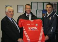 Michael ORiordan(Chairman),Andrew Barrett(Moynihans Pharmacy)and Noel ORiordan (Premier Intermediate Hurling Captain)