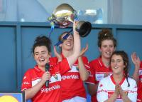 Cork captain Doireann O Sullivan lifts the Cup in the  Lidl NFL Final 2017