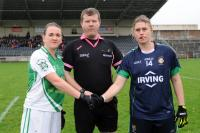 Munster Intermediate Club Final captains Emma and Susan with ref Kevin O Brien photo Barry Moran