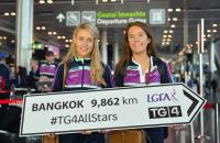 Cork's Orla Finn, left, and Emma Spillane get ready for the TG4 Ladies Football All-Star Tour