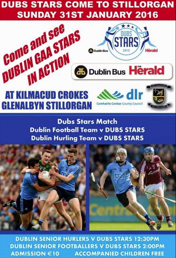 DUBS STARS COME TO GLENALBYN - JANUARY 31st