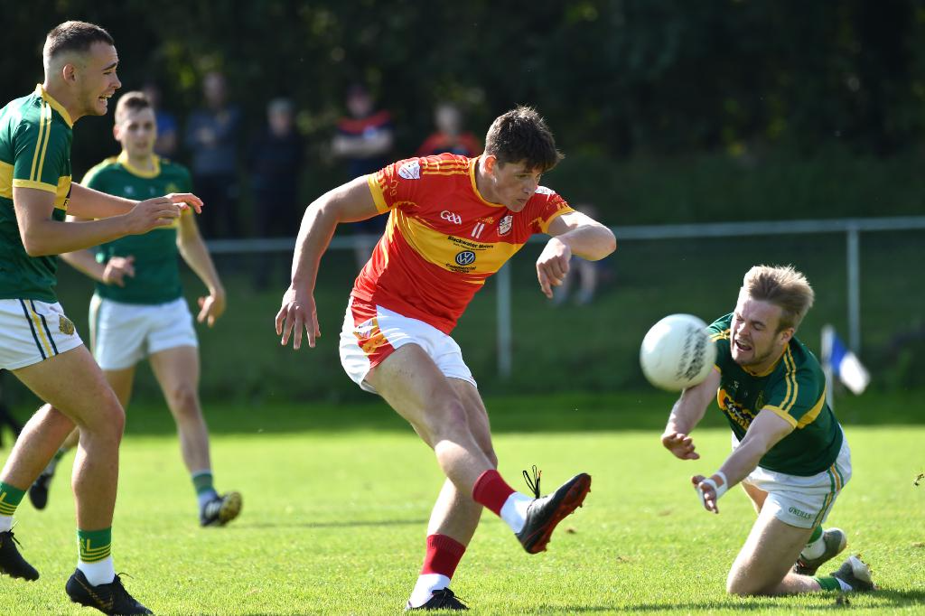 Daniel Meaney, St Michael's, making a fine block on this shot on goal by Colm O'Callaghan, Éire Óg. Picture: Dan Linehan