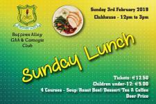 Sunday Lunch Sun. 3rd Feb. 2019