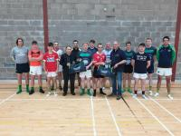 Martin and Kieran O Brien of G & D Garages presenting new gear bags to Randal Og club