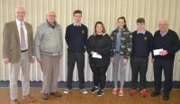 Presentation of cheques funded by the MCA Transition Year Christmas collection 2018