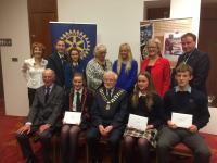 Sligo Rotary Club with three Youth Leadership winning students