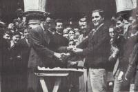 Jack Lynch Presents Harty Cup Medal to Con Murphy