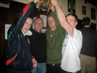 We raise the Cup on high! Brian Mattimoe, Noel Regan, Ian O'Dowd and Evan Regan