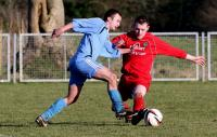 Action from the 3-3 draw between Convoy Arsenal and Dunlewey Celtic at Orchard Park.