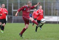 Ted Bustard brings the ball under control as he bursts into the Glenree United  penalty area