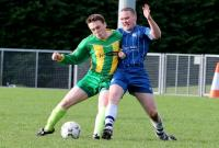 Frankie Mc Brearty and Shaun Mc Gowan tussle for possession during the Ballybofey United v Bonage United match