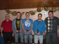 Chairman, Phillip Irwin, A team player of the year, Neill McNicholas, B team leading goalscorer, Martin Sweeney, B team player o