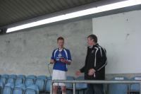 Martin Walsh, captain of Swinsford FC getting used to the microphone!