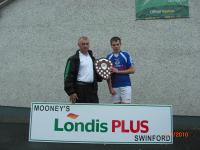 U14 Captain Jonathan Burke Receiving Trophy