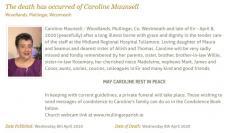 Caroline Maunsell RIP