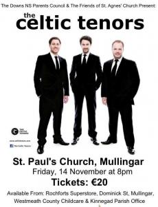 Celtic Tenors this Friday Night for The Downs NS
