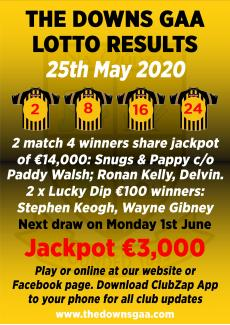 Lotto results 25th May 2020