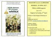 safeTALK. Monday, 10 April. 7pm. Clubrooms
