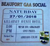 Beaufort Social. Saturdaty, 27th January. Killarney Avenue Hotel