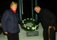 Bridie Syron and  David Donohue  lay a wreath at the Bell Ringing Ceremony 2012
