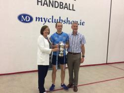 Eoin Kennedy celebrates winning his 10th 60x30 All-Ireland Final with Eugene and Carmel, last ever singles final in the old HQ
