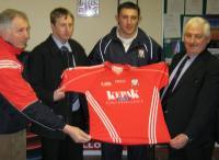 Eddie Hogan(Treasurer),Jimmy Delaney(Kepak),Noel ORiordan(Premier Intermediate Hurling Captain)and Michael ORiordan(Chairman)