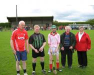 Captains and Officials - L to R Danny OFarrell, Bernard Kiernan, Dean Cronin, Donal OCallaghan (Club President), Lizzie OLeary