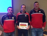Willie O Leary, Shane McCarthy(Coaching Officer), Brian O Leary receiving Silver Grade Accreditation for Watergrasshill GAA